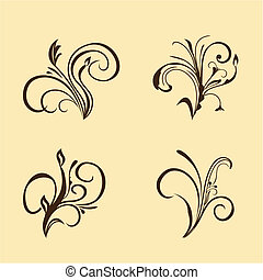 Set of floral elements. Brown