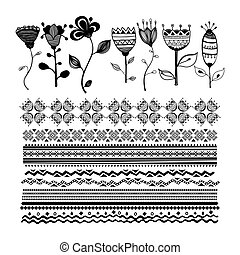 Set of  floral elements for design hand-drawn vector line