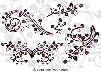 Set of floral elements for design.