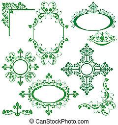Set of floral elements - corner, oval, circle, vignette - for design.