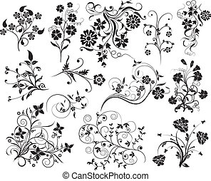 Set of floral elements for design, vector