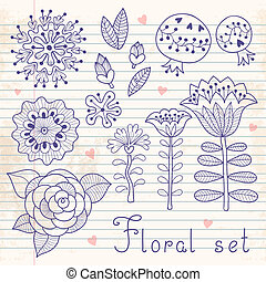 Set of floral elements isolated for your design. Vector...