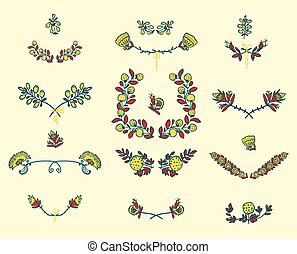Set of floral graphic design elements