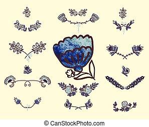 Set of floral graphic design elements