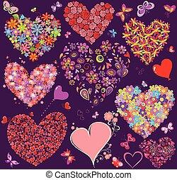 Set of floral heart shape