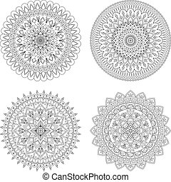 Set of floral mandalas, vector illustration