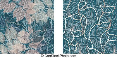 Set of floral ornaments pattern and fluid lines design. Green and rose color