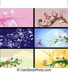 set of floral patterns backgrounds