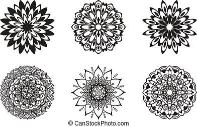 Set of floral patterns black color