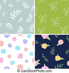 Set of floral patterns. Vector backgrounds with flowers and leaves. For packaging, print