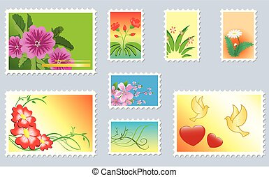 set of floral postage stamps - vector