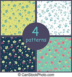 Set of floral seamles patterns.