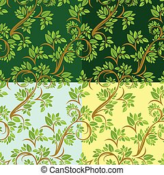 Set of Floral seamless pattern, detailed ornament with olive tree leaves and curled branches on different colors background.