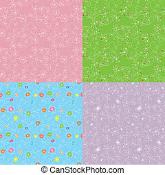 Set of floral seamless pattern