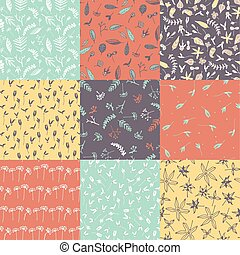 Set of floral seamless pattern.