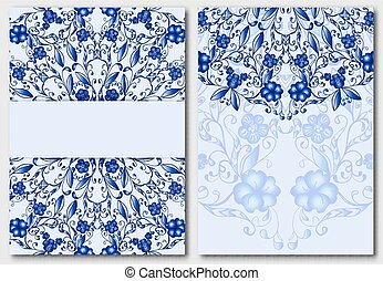 Set of floral template for design wedding invitations and greeting cards. Classic elements of tribal patterns Chinese or Russian motif painting on porcelain.