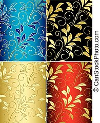 set of floral vector backgrounds with gradient