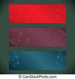Set of floral vector banner