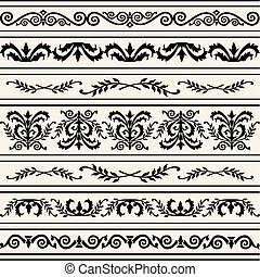 Set of floral borders, design elements, full scalable vector graphic included Eps v8 and 300 dpi JPG.
