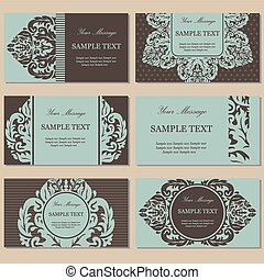 Set Of Henna Tattoo Floral Banners And Business Card Templates