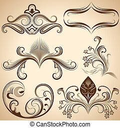 Set of floral vintage design elements