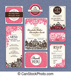 set of floral wedding cards vector illustration