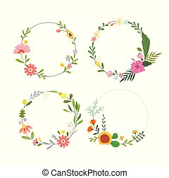 Set of floral wreath
