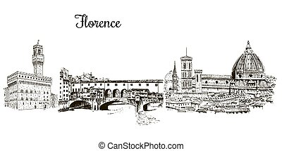 Set of Florence symbols. Duomo Santa maria del fiore, Palazzo Vecchio or Palazzo della Signoria, Ponte Vecchio bridge. Hand drawn sketch vector set. city skyline, outline. For prints, textile, web