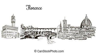 Set of Florence symbols silhuettes. Cityline. Duomo Santa...