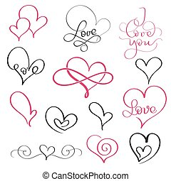 set of flourish calligraphy vintage hearts and some with love word. Illustration vector hand drawn EPS 10