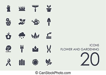 Set of flower and gardening icons