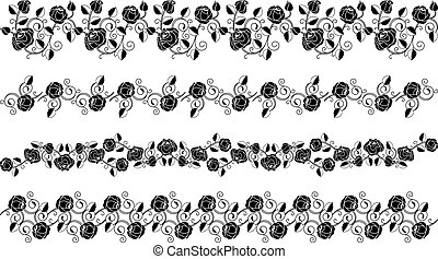Set of Flower borders