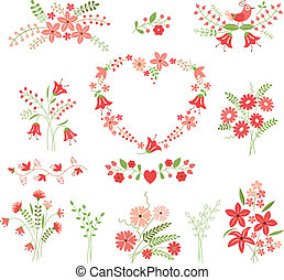 Set of flower design elements isolated over white