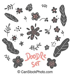 Set of flower doodle sketch Floral graphic design. Vector set of floral elements with hand drawing flowers leaves