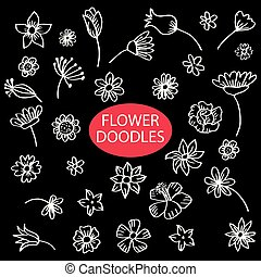 Set of flower doodles