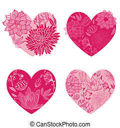 Set of Flower Hearts - for scrapbook and design - in vector