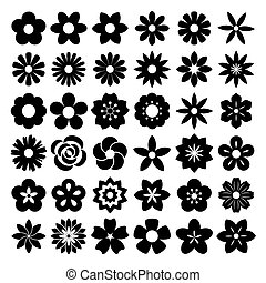 Set of Flower icons. Illustration eps10