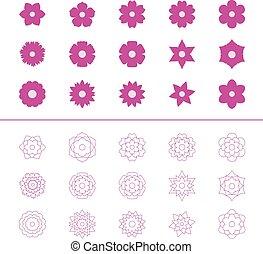 Set of flower icons, vector illustration