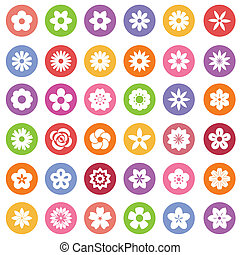 Set of Flower icons.Illustration eps10
