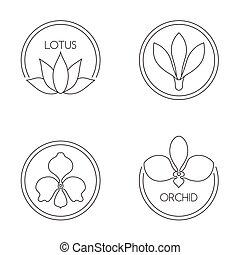 Set of flower logo on white background
