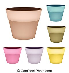 Set of Flower Pots on White Background
