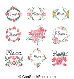 Set of flower shop logo design, colorful watercolor vector Illustrations
