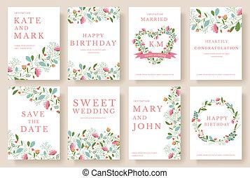 Set of flower wedding ornament concept. Art traditional,...