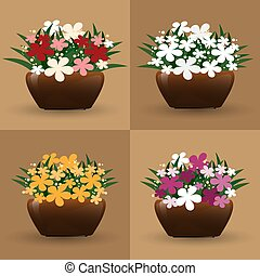 Set of flowerpot isolated on light brown background, four tone color of flower in pots collection.