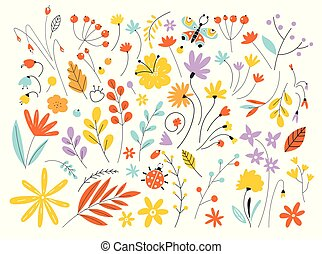 Set of flowers and leaves in a flat style isolated on white background. Hand Drawn vintage floral elements. Floral vector set with flat doodle style abstract.