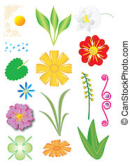 Set of flowers and plants - collection of flowers and...