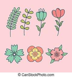 set of flowers decorative icons