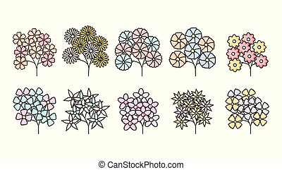 set of flowers garden icons
