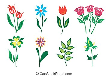 set of flowers in flat style, icons