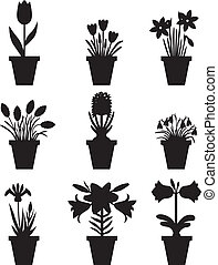 Set of flowers in pots - Set of silhouette images of flower...
